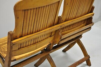 Cool Antique Vintage Wood Slat Double Folding Seat Theater School Andrewgaddart Wooden Chair Designs For Living Room Andrewgaddartcom