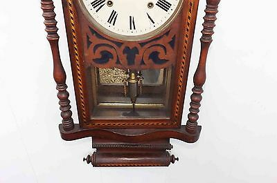 antique wall clock rosewood & inlaid case 3