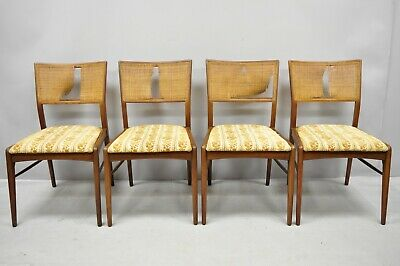 Remarkable 4 Mid Century Modern Walnut Cane Back Dining Chairs After Th Machost Co Dining Chair Design Ideas Machostcouk