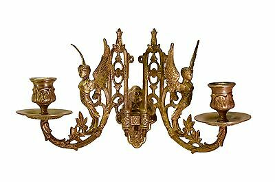 French Antique Empire Bronze Pair Wall Lamp Sconces - Winged Woman Angel PINET 3
