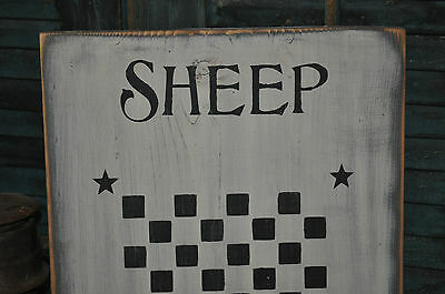 Vintage Looking White Wood Sign Sheep Wool Game Board Farmhouse Primitive Decor 7