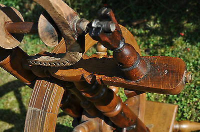 antikes  seltenes Spinnrad Eiche schwere Ausführung 9