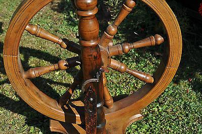 antikes  seltenes Spinnrad Eiche schwere Ausführung 11