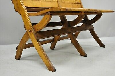 Pleasant Antique Vintage Wood Slat Double Folding Seat Theater School Caraccident5 Cool Chair Designs And Ideas Caraccident5Info
