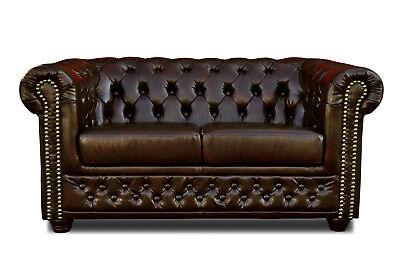 Bett Dunkelbraun Leder Look Chesterfield Sofa 3 2er Sitzer Hocker Sessel