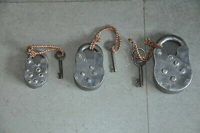 3 Pc Old Iron Handcrafted Different Shape Solid Padlock , Rich Patina 2