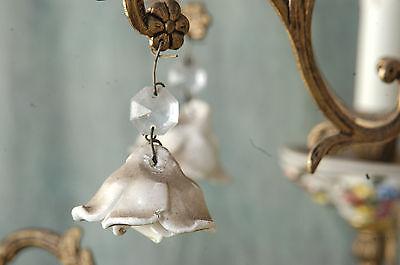 "Chandelier Working 6 Arm VTG 24"" x 19"" Porcelain 18 White Flowers, Beads, Brass 9"