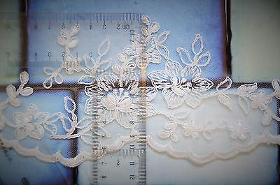 Wedding Veil *Fingertip Length*2 Tier*Wide Lace H* Ivory&off white* 10