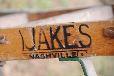 Antique wooden dolly hand truck cast iron primitive 1920 Jakes Foundry Nashville 2