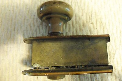 Antique Vtg Brass Door Knob With Brass Plates 4