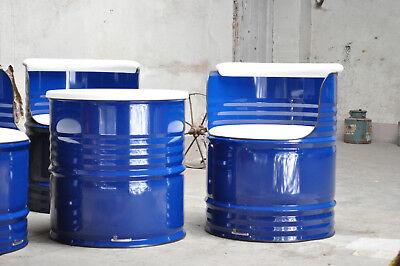 Sitzgruppe aus 200 Liter Fass Ölfass Fass Möbel Pulverbeschichtung nach Wahl