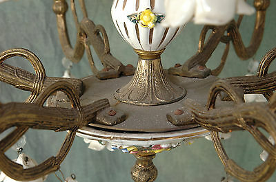 "Chandelier Working 6 Arm VTG 24"" x 19"" Porcelain 18 White Flowers, Beads, Brass 4"