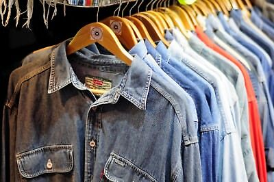 10 x VINTAGE DENIM SHIRT JOB LOT WHOLESALE RANDOM LEE,LEVI'S,WRANGLER,UNBRANDED 2