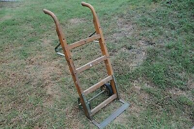 Antique wooden dolly hand truck cast iron primitive 1920 Jakes Foundry Nashville 12