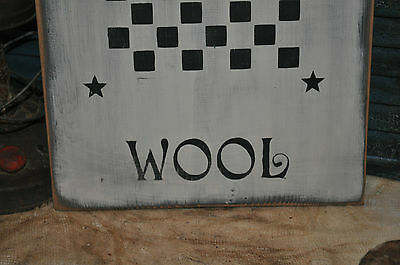 Vintage Looking White Wood Sign Sheep Wool Game Board Farmhouse Primitive Decor 6