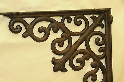 (2) Tuscan Brown Iron Corbels,LG shelf brackets,countertop support,cornices NWT 3