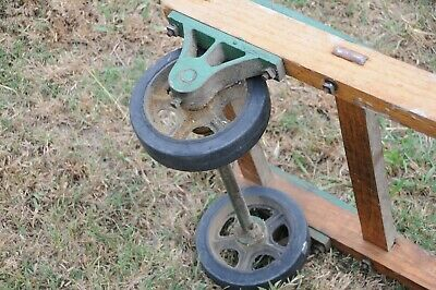 Antique wooden dolly hand truck cast iron primitive 1920 Jakes Foundry Nashville 8