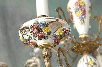 "Chandelier Working 6 Arm VTG 24"" x 19"" Porcelain 18 White Flowers, Beads, Brass 3"