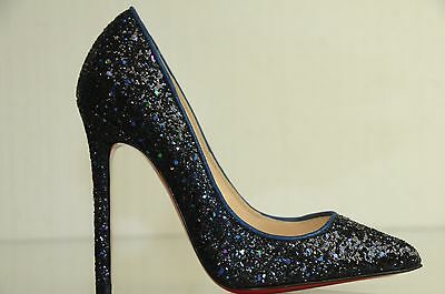 purchase cheap 25cd7 6504a NEW CHRISTIAN LOUBOUTIN PIGALLE 120 Glitter Navy Blue Pumps Shoes 35  STUNNING!