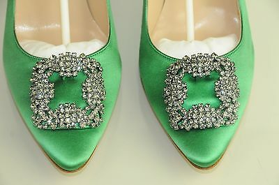 f2b8c316f ...  965 NEW MANOLO BLAHNIK HANGISI LIME GREEN Satin JEWELED Pumps SHOES 41 40.5  40 5