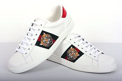 73673c3fe08 1 of 8FREE Shipping GUCCI 640  Authentic New White Leather Ace Tiger  Embroidered Low-Top Sneakers
