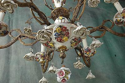 "Chandelier Working 6 Arm VTG 24"" x 19"" Porcelain 18 White Flowers, Beads, Brass 2"