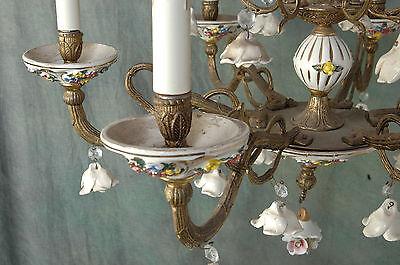 "Chandelier Working 6 Arm VTG 24"" x 19"" Porcelain 18 White Flowers, Beads, Brass 5"