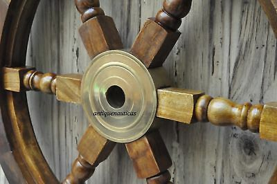 "18""Nautical Wooden Ship Steering Wheel Pirate Decor Wood Brass Fishing Wall Boat 5"
