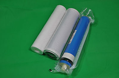 3 Stage Reverse Osmosis RO Unit Complete Filters Replacement with 75GPD Membrane