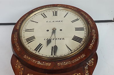 Wall Clock Double Fusse Victorian Leicester Clock mother of Pearl in rosewood. 3