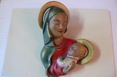 Raro Arte Decoración Máscara de Pared Virgen con Niño Gmundner Cerámica
