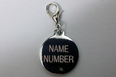 ENGRAVED PAW PRINT Pet Name Id Tag cat puppy dog collar 25mm nickel disc disk P 4