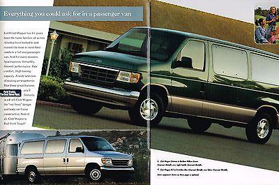 1996 FORD CLUB WAGON Van Brochure / Catalog w/Color Chart :  XL,+XLT,CHATEAU,4WD,