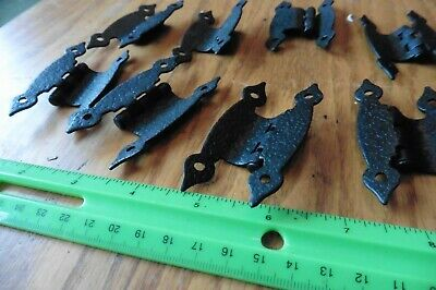 10 Cabinet Hinges Strap Iron Butterfly Hardware Rustic Vintage style Hammered 7