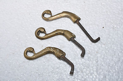 Old Iron & Brass 3 Pc Handcrafted Peacock Head Pegs / Hooks 7