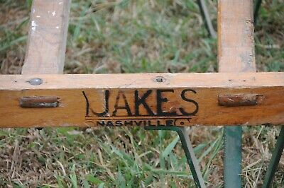 Antique wooden dolly hand truck cast iron primitive 1920 Jakes Foundry Nashville 5