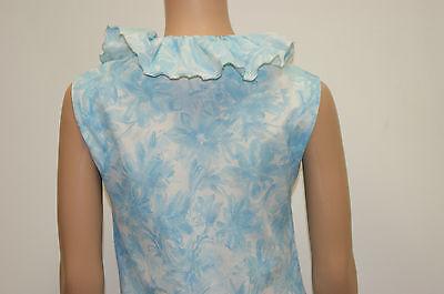 Size 6 Vintage 60/'s Mod Blue White Floral Ruffle Mini Dress by Pawtucket Sport