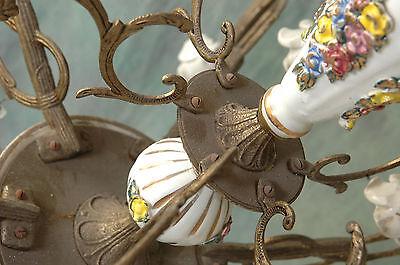 "Chandelier Working 6 Arm VTG 24"" x 19"" Porcelain 18 White Flowers, Beads, Brass 7"