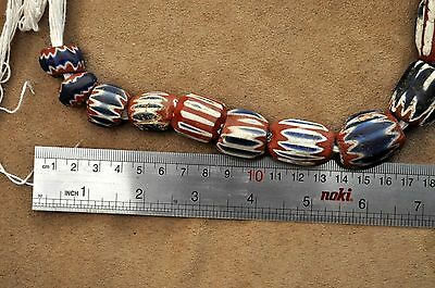 Antiquity Huge Italy c.1490 Venetian Murano 7-Layer Chevron Drawn-Glass Beads 9