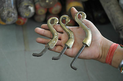 Old Iron & Brass 3 Pc Handcrafted Peacock Head Pegs / Hooks 2
