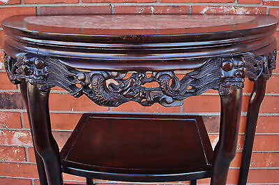 Late 18th / 19th C. Chinese Demi-Lune Marble Top DRAGON Table - YUEYAZHUO 6