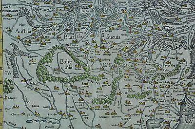 Antique German Map Part Of Europe Bohemia Bavaria Silesia Bi