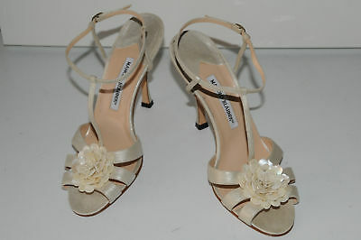 New Manolo Blahnik Pearly White Sandals Shoes Wedding