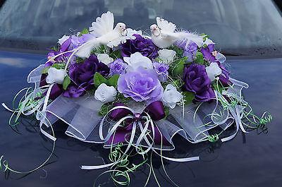 Autodeko Rosen  Auto Deko Tauben Hochzeitauto  Kunstblumen Autoschmuck  LA21