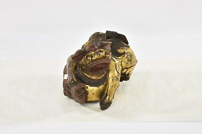 Antique Chinese Red Gilt Wood Carved Statue Animal Foo Dog / Lion / Cow, 19th c 3