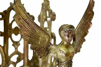 French Antique Empire Bronze Pair Wall Lamp Sconces - Winged Woman Angel PINET 5
