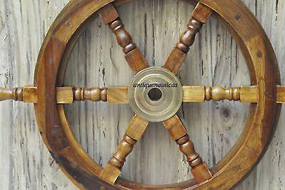 "18""Nautical Wooden Ship Steering Wheel Pirate Decor Wood Brass Fishing Wall Boat 6"