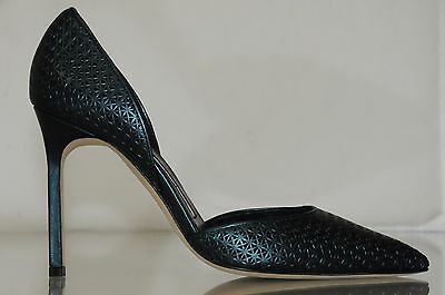 ce1946e5962 ...  830 New Manolo Blahnik Tayler Tayleradamesh Green Metallic Pump Dorsay  Shoes 36 2
