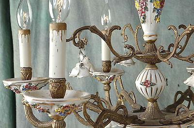 "Chandelier Working 6 Arm VTG 24"" x 19"" Porcelain 18 White Flowers, Beads, Brass 10"
