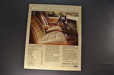 Flyer 1983 Mercury LYNX LTS Dealer Brochure Catalog